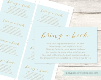 bring a book instead of a card insert printable baby boy shower DIY blue gold glitter baby digital shower games - INSTANT DOWNLOAD