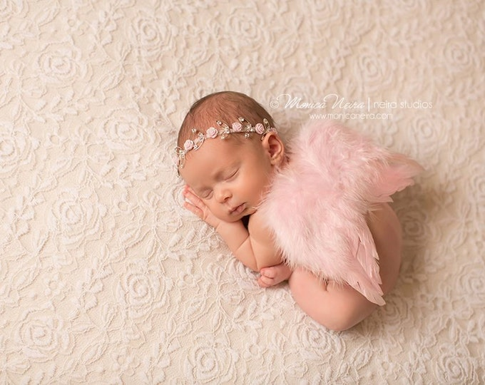 Featured listing image: Pink Feather Wings and Headband, Rhinestone Headband and Wing Set, Baby Girl Photo Prop, Photography Prop, Newborn Photo Prop