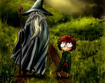 Poster print digital illustration - Gandalf and Frodo - The lord of the rings- Christmas gift