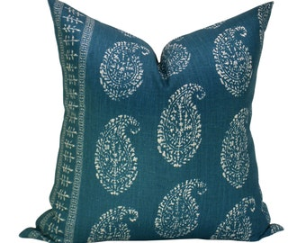 Kashmir Paisley pillow cover in Tea/Peacock - ON BOTH SIDES