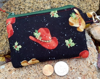 Cowboy Hat Coin Purse, Christmas Coin Purse, Zipper Wallet, Personalized Change Purse, credit card pouch