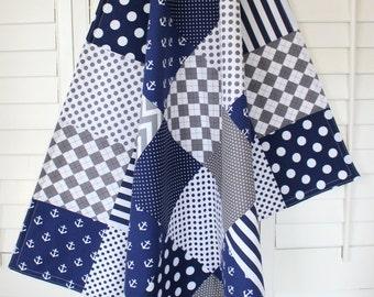 Baby Blanket, Nursery Decor, Minky Baby Blanket, Baby Quilt, Baby Shower Gift, Nautical, Anchor, Baby Boy, Navy Blue White Gray Grey Anchors