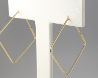 Gold Hoop Earrings 14K, Gold Square Hoop Earrings, 14K Minimalist Earrings, 14K Geometric Earrings, 14K Simple Hoop Earrings,