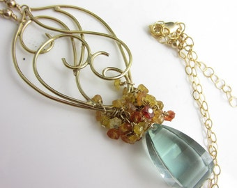 Lagoon Sunrise Necklace - 14k Gold FIlled Pendant with Green Amethyst and Padparadash Sapphires