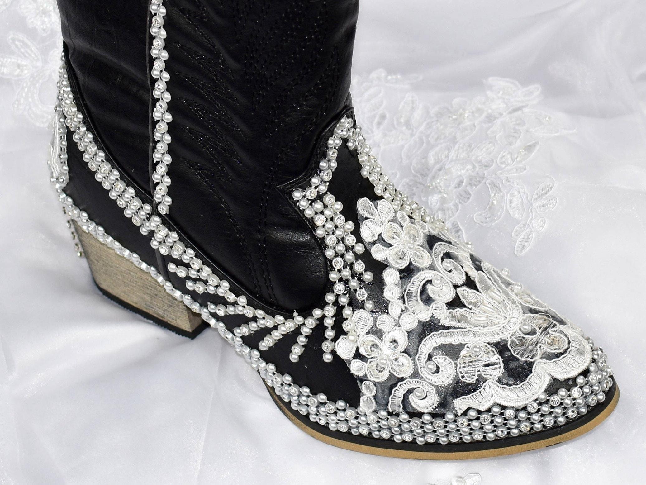Black Wedding Bridal Cowboy Boots. Wedding Bridal Black Shoes ...