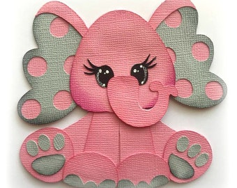pink or blue with gray baby elephant premade paper piecing 3d die cut by my tear bears kira