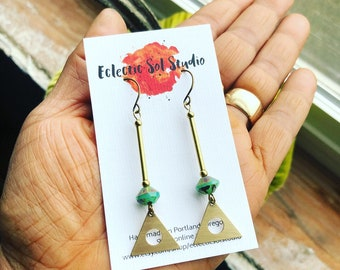 Turquoise Czech Glass& Brass Triangle Earrings