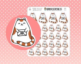 Happy Mail Calico Kawaii Cat Planner Stickers Cute Happy Post Kitty Kitten Erin Condren Happy Planner Paw Stickers