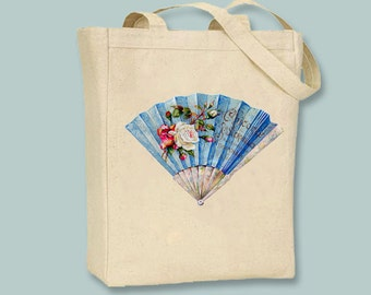 Vintage French Hand Fan Image on Natural or Black Canvas Tote -- Selection of  sizes available