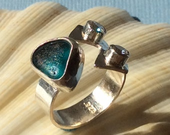 Peacock Blue English Seaglass and Sterling Silver Ring