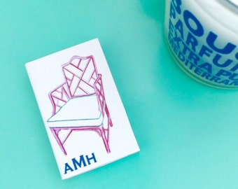 PERSONALIZED MONOGRAM MATCHES with Pink Chinoiserie Chair Design