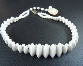 Vintage Japan White Milk Glass Choker Necklace, Jewelry 1950s, Beaded, Mid-century, Short
