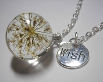 "Dandelion Wish Necklace - Make A Wish - Dandelion Seed - Wish Charm - 24"" Silver Necklace"