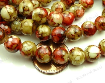 Brown and Red Round Glass Beads - 8mm Smooth Mottled Beads, Colorful Bohemian Beads - 25pcs - BL17
