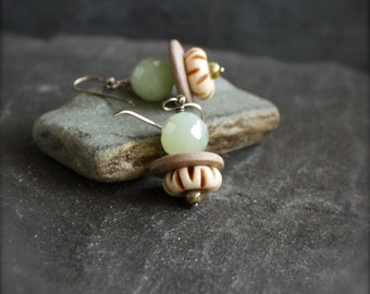Serpentine Dangle Earrings - Natural Coconut Wood, Carved Cream Bone, Mint Green, Stone Drop, Sterling Silver, Gemstone Jewelry