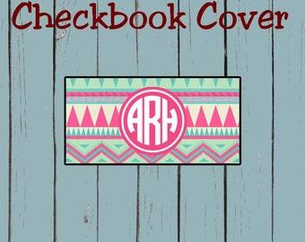 Checkbook Cover Pink Aztec Print Pattern Design Monogram Personalized Checkbook cover
