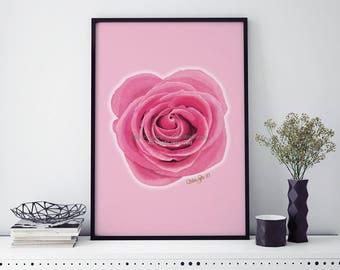 Rose Print, PRINTABLE ART, Pink Wall Decor, Floral Print, Flower Print, Rose Art, Pink Flower, Home Decor Wall Art, Living Room Decor