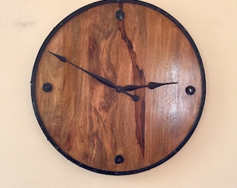 """FREE Shipping  -- Oversize Metal Wood Wall Clock-- 24"""" Large Solid Repurpused Materials  Wooden Wall Clock --"""