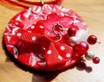 Round red and silver, very original pendant