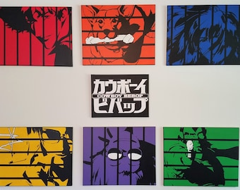 Full Set of Canvases - Spike, Jet, Faye, Ed, Ein & Julia - TANK! - Hand Painted Acrylic