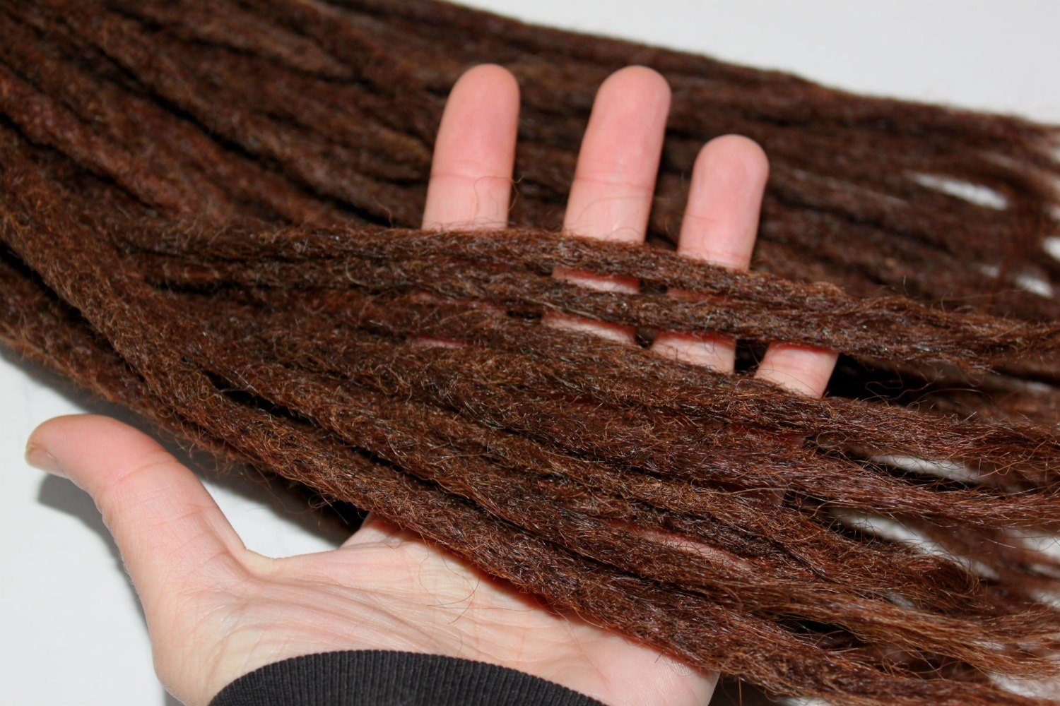 40 High Quality Mid Brown Human Hair Dreadlock Extensions 12