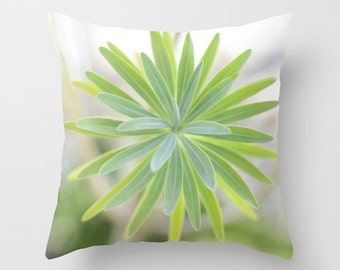 Nature Pillow Cover - Ombre PIllow Case - Green Yellow Plant Pillow - 16x16 18x18 20x20 Pillow Cover