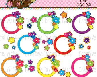 40% Off! Flower Frames Digital Clipart Instant Download