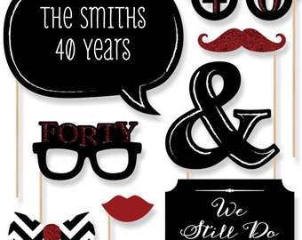 40th Anniversary - 20 Piece Anniversary Photo Booth Props Kit