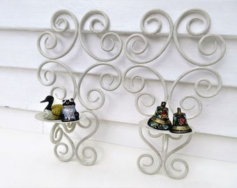 Vintage Iron Sconces | Wall Sconces | Candle Sconces Pair | Wrought Iron Wall Scroll | Metal Scroll Wall Candle Holders
