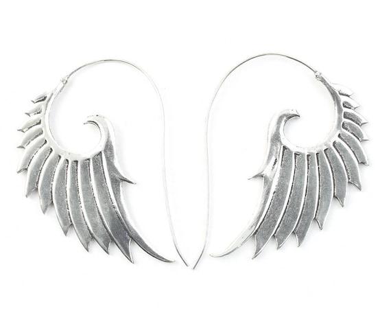 Angel Wing Earrings, Wing Earrings, Biker Jewelry, Tribal Earrings, Festival Jewelry, Gypsy Earrings, Ethnic