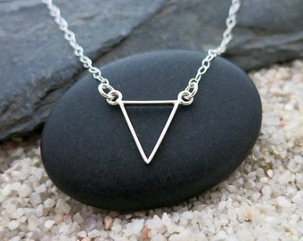 Silver Triangle Necklace, Small Sterling Silver Triangle Pendant, Minimalist Jewelry