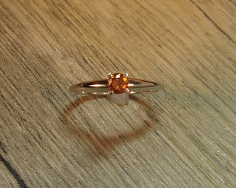 Cognac Colored Diamond 14K White Gold, Size 7, Ready to Ship, minimalist
