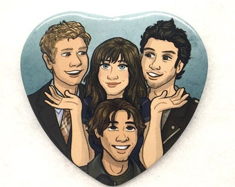 "Gilmore Girls Rory Gilmore Dean Logan Jess heart shaped 2"" pinback button"