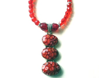 Millefiori Necklace, Millefiori Pendant, Red Millefiori Flower Sterling Silver Pendant And Glass Bead Necklace
