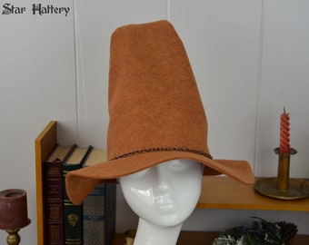 Witch Hat, Wizard Hat - The Rugged Wizard - Sorcerer, mage, fantasy, cosplay, larp, Harry Potter - Brown