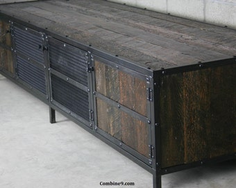 Reclaimed Wood Entertainment Center, Rustic Media Console. Reclaimed Wood TV Stand. Modern Industrial Credenza. Vintage Industrial Style.