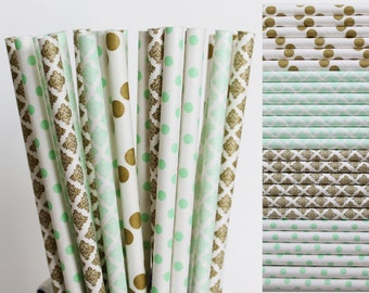 Mint and Gold Paper Straw Mix-Mint Polka Dot Straws-Metallic Gold Damask Straw-Gold Polka Dot Straws-Mint Green Damask Straws-Wedding Straws