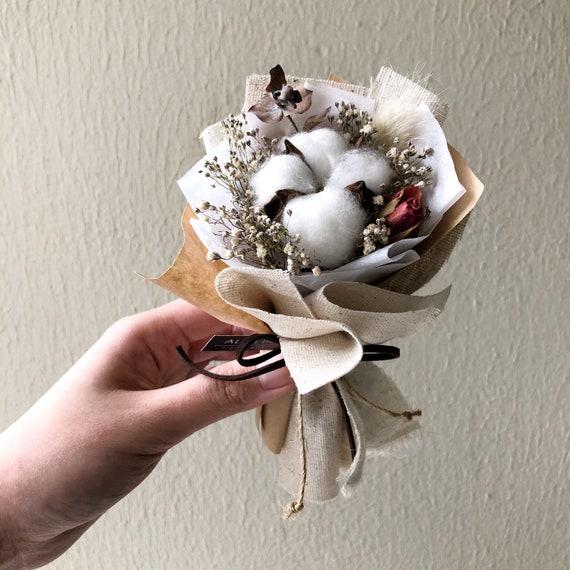 Mini Dried Cotton Flower Bouquet Kraft Linen