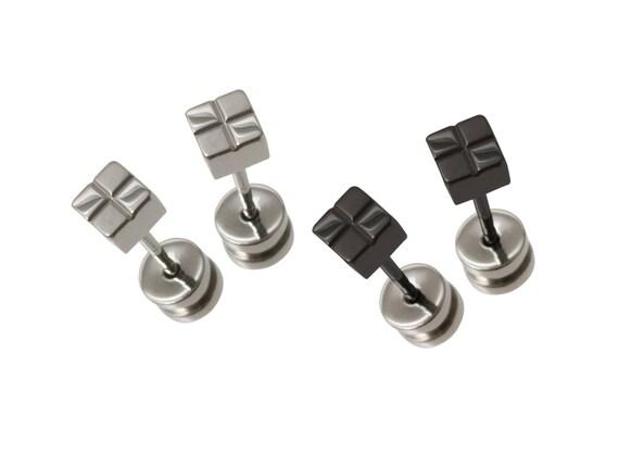 Square Titanium Stud Earrings, 100% Hypoallergenic, Sensitive ear