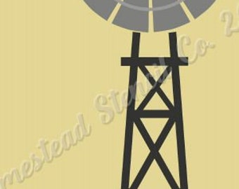 PRIMITIVE STENCIL - 7831 N 12x24 - Windmill -  Clear 5Mil Mylar -Make Your Own Sign