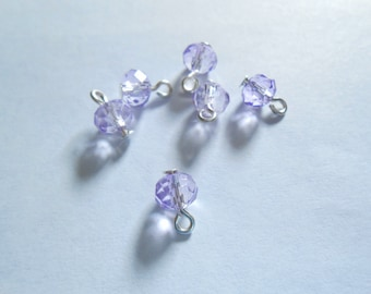 Lavender Faceted Rondelle Dangle Beads