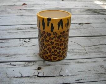Custom LEOPARD PRINT/TIGER Kitchen Caddy, Ceramic Utensil Caddy, Animal Print Desk Organizer, Cheetah Design Caddy, Exotic Flower Vase