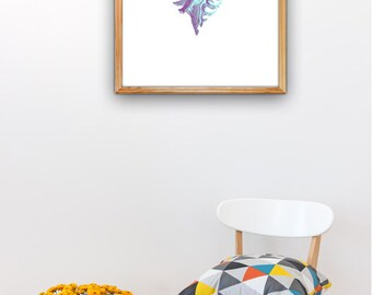 Sea shell A3 plus sized Poster,  sea life print,wall hanging beach house decor Turquoise shell art poster A3 plus  SAS250A3P
