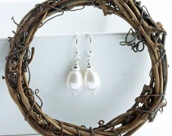 Swarovski Drop Pearl Earrings on Sterling Silver