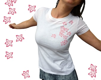 Cherry blossoms, organic t-shirt for women. Screen printed by hand. White.