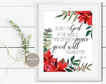 Luke 2 14 KJV Bible Verse Glory to God in the highest on earth peace and good will toward men Christmas Bible Art Wall Decor winter art good