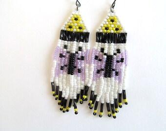 Beaded Indian Earrings, Native American Style, Butterfly Earrings, Boho Jewelry, Hippie Earrings, Bead Fringe Earrings, moonlilydesigns