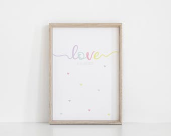 Pastel Nursery Art, Love Print, Cute Print for girl room, Pastel Wall Art, Love is all you Need, Kids Room Poster, Baby Girl Gift, Heart Art