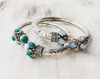 Silver Oplalite Turquoise Bangle, Boho Bangle, Turquoise bracelet, Ethnic Bracelet, Indian Bangle, Gypsy Bracelet, Silver Cuff, Opal Cuff.