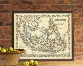 Vintage map of East Indies - Southest Asia map - East Indies map  for wall decoration - Fine print